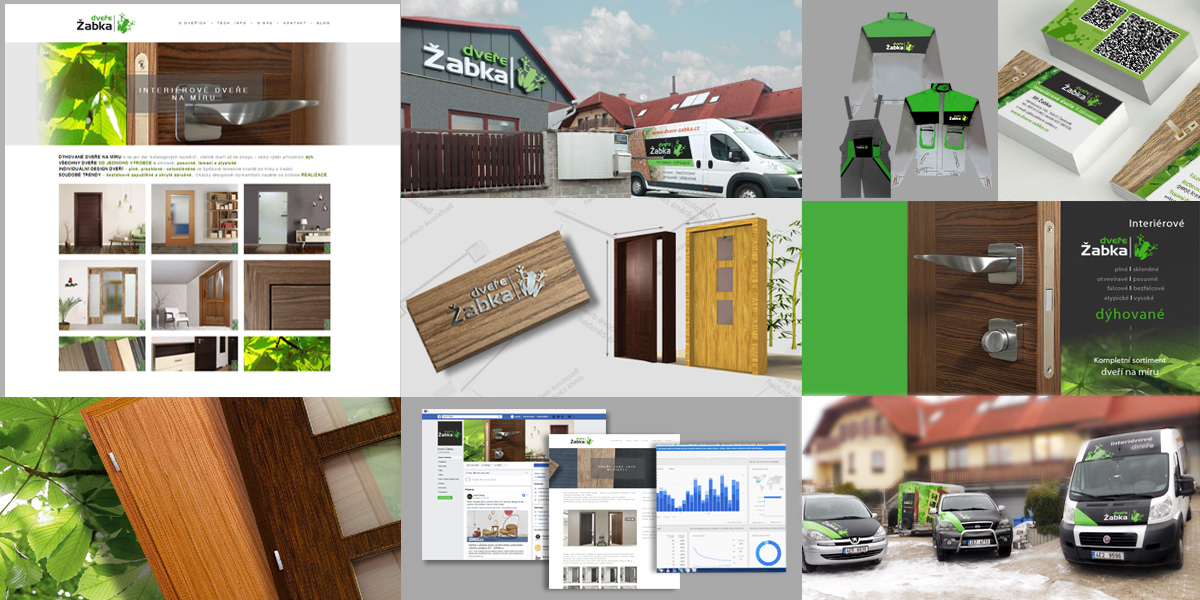 Firma Dveře Žabka - web, polepy automobilů, vizitky, označení provozovny